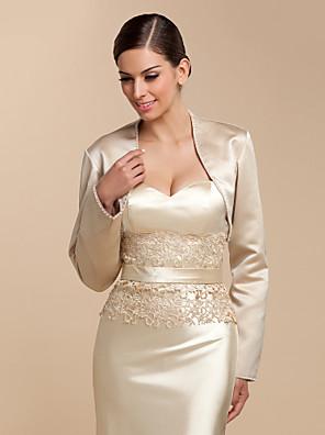 cheap Wedding Wraps-Long Sleeve Coats / Jackets Satin Wedding / Party Evening / Casual Wedding  Wraps With Beading / Sequin