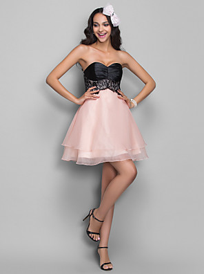 cheap Special Occasion Dresses-Back To School A-Line Fit & Flare Holiday Homecoming Cocktail Party Dress Sweetheart Neckline Sleeveless Short / Mini Organza Stretch Satin with Lace Ruched 2020 Hoco Dress