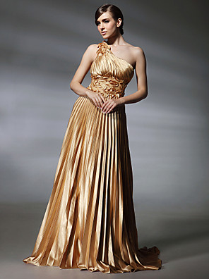 cheap Evening Dresses-A-Line Elegant Gold Prom Formal Evening Dress One Shoulder Sleeveless Sweep / Brush Train Stretch Satin with Pleats Appliques 2020