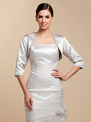 cheap Buy More, Save More-Coats / Jackets Satin Wedding / Party Evening / Casual Wedding  Wraps With Beading / Sequin