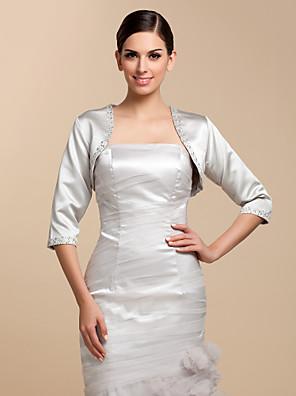 cheap Wedding Wraps-Coats / Jackets Satin Wedding / Party Evening / Casual Wedding  Wraps With Beading / Sequin