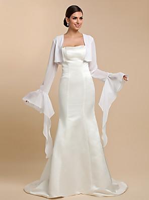 cheap Wedding Wraps-Long Sleeve Coats / Jackets Chiffon Wedding / Party Evening / Casual Wedding  Wraps With