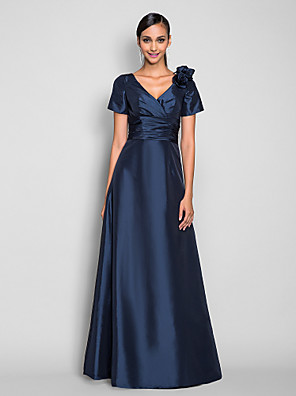 cheap Special Occasion Dresses-A-Line Elegant Prom Formal Evening Military Ball Dress V Neck Short Sleeve Floor Length Taffeta with Ruched Side Draping Flower 2020