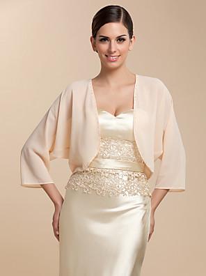 cheap Wedding Wraps-Coats / Jackets Chiffon Party Evening / Casual Wedding  Wraps / Bolero With Draping / Solid