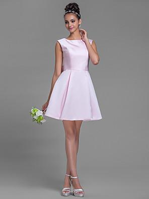 cheap Cocktail Dresses-A-Line Bateau Neck Short / Mini Satin Bridesmaid Dress with Bow(s)