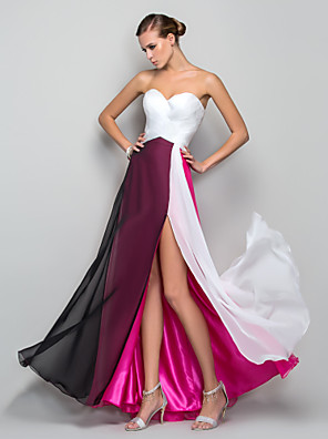 cheap Women's Blouses & Shirts-A-Line Empire Pink Holiday Prom Dress Sweetheart Neckline Sleeveless Floor Length Chiffon with Split Front 2020