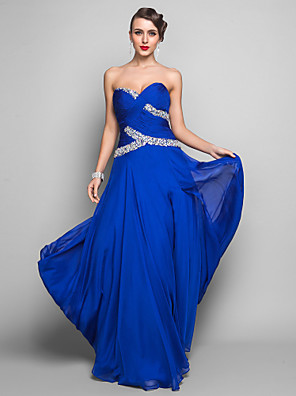 cheap Special Occasion Dresses-Sheath / Column Open Back Prom Formal Evening Military Ball Dress Sweetheart Neckline Sleeveless Floor Length Chiffon with Criss Cross Ruched Crystals 2020 / Split Front
