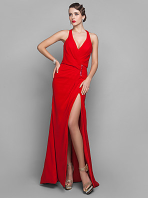 cheap Special Occasion Dresses-Sheath / Column Celebrity Style Open Back Holiday Cocktail Party Formal Evening Dress V Neck Sleeveless Floor Length Georgette with Sequin Split Front 2020