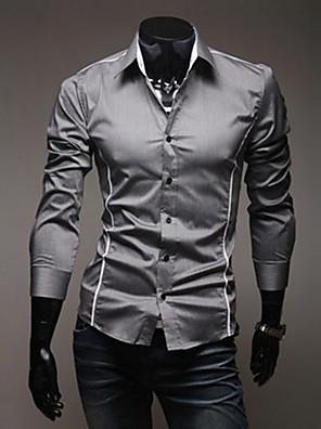 abordables Camisas de Hombre-Hombre Tallas Grandes Un Color Delgado Camisa Casual Diario Cuello Inglés Blanco / Negro / Gris / Primavera / Otoño / Manga Larga