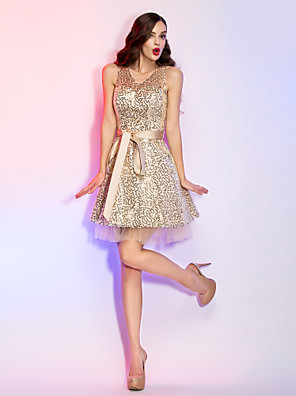 cheap Cocktail Dresses-Back To School A-Line Holiday Homecoming Cocktail Party Dress V Neck Sleeveless Short / Mini Sequined with Sash / Ribbon Sequin Ruffles 2020 Hoco Dress
