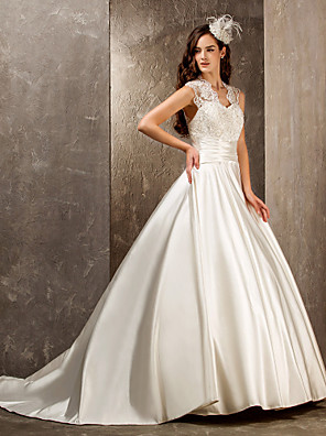 cheap Wedding Dresses-A-Line Wedding Dresses Queen Anne Sweep / Brush Train Lace Satin Sleeveless See-Through with Sash / Ribbon Beading Appliques 2020