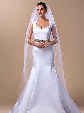 cheap Wedding Veils-Two-tier Wedding Veil Cathedral Veils with 98.43 in (250cm) Tulle A-line, Ball Gown, Princess, Sheath / Column, Trumpet / Mermaid
