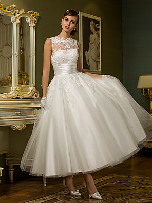 cheap Wedding Dresses-A-Line Wedding Dresses High Neck Ankle Length Lace Over Tulle Regular Straps Vintage Little White Dress Illusion Detail with Sash / Ribbon Ruched Appliques 2020