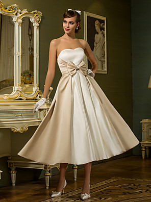 cheap Wedding Dresses-A-Line Wedding Dresses Sweetheart Neckline Tea Length Satin Strapless Casual Vintage Little White Dress Plus Size with Bowknot 2020