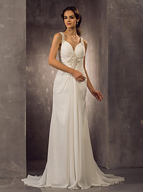 cheap Wedding Dresses-Sheath / Column Wedding Dresses Sweetheart Neckline Sweep / Brush Train Chiffon Regular Straps with Ruched Beading 2020