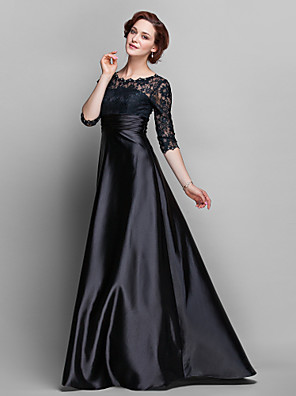 cheap Mother of the Bride Dresses-A-Line Mother of the Bride Dress See Through Jewel Neck Sweep / Brush Train Lace Over Satin Half Sleeve with Lace Ruched Crystals 2020 / Illusion Sleeve