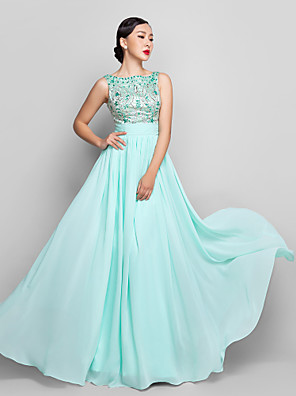 cheap Bridesmaid Dresses-A-Line Pastel Colors Beaded & Sequin Holiday Cocktail Party Prom Dress Scoop Neck Sleeveless Floor Length Chiffon with Bow(s) Ruched Beading 2020 / Formal Evening