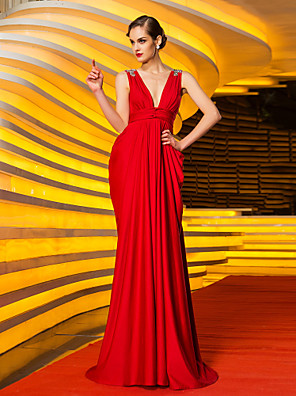 cheap Special Occasion Dresses-Sheath / Column Celebrity Style Open Back Formal Evening Military Ball Dress V Neck Sleeveless Sweep / Brush Train Jersey with Crystals Side Draping 2020