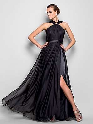 cheap Special Occasion Dresses-Sheath / Column Formal Evening Military Ball Dress Halter Neck Sleeveless Floor Length Chiffon with Side Draping Crystal Brooch 2020