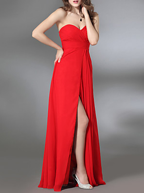cheap Special Occasion Dresses-Sheath / Column Furcal Formal Evening Military Ball Dress Strapless Sweetheart Neckline Sleeveless Floor Length Chiffon Stretch Satin with Criss Cross Side Draping Split Front 2020