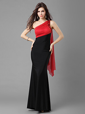 cheap Cocktail Dresses-Mermaid / Trumpet Prom Formal Evening Military Ball Dress One Shoulder Floor Length Jersey with Beading 2020