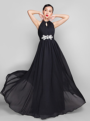 cheap Evening Dresses-A-Line Open Back Keyhole Formal Evening Wedding Party Military Ball Dress High Neck Sleeveless Floor Length Chiffon with Beading 2020