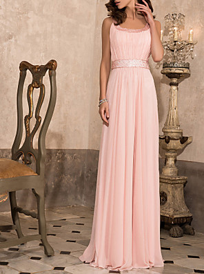 cheap Special Occasion Dresses-Sheath / Column Elegant Prom Formal Evening Military Ball Dress Scoop Neck Floor Length Chiffon with Beading Draping 2020