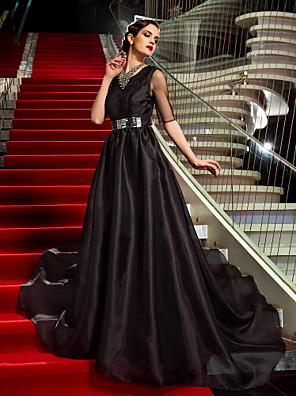 cheap Special Occasion Dresses-A-Line Celebrity Style Inspired by Emmy Open Back Formal Evening Military Ball Dress Jewel Neck Half Sleeve Court Train Organza with Crystals 2020