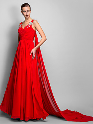 cheap Evening Dresses-A-Line Elegant Formal Evening Black Tie Gala Dress V Neck Sleeveless Court Train Chiffon with Ruched Crystals 2020