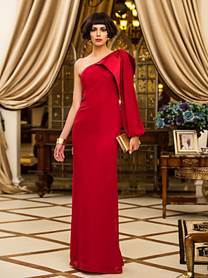 cheap Evening Dresses-Sheath / Column Elegant Red Wedding Guest Formal Evening Dress One Shoulder Long Sleeve Floor Length Chiffon with Draping 2020
