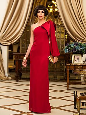 cheap Prom Dresses-Sheath / Column Elegant Red Wedding Guest Formal Evening Dress One Shoulder Long Sleeve Floor Length Chiffon with Draping 2020
