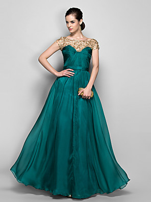 cheap Special Occasion Dresses-A-Line Elegant Beaded & Sequin Holiday Cocktail Party Formal Evening Dress Illusion Neck Short Sleeve Floor Length Chiffon with Lace Criss Cross 2020
