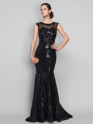 cheap Special Occasion Dresses-Mermaid / Trumpet Elegant Beautiful Back Sparkle & Shine Formal Evening Black Tie Gala Dress Illusion Neck Sleeveless Sweep / Brush Train Tulle Sequined with Sequin Appliques 2020