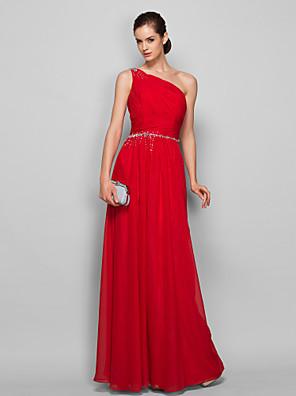 cheap Evening Dresses-Sheath / Column Elegant Minimalist Prom Formal Evening Dress One Shoulder Sleeveless Floor Length Chiffon with Ruched Beading 2020