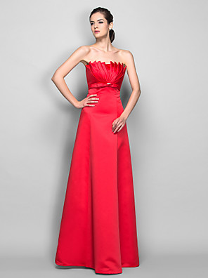cheap Special Occasion Dresses-A-Line Open Back Prom Formal Evening Military Ball Dress Scalloped Neckline Sleeveless Floor Length Satin with Ruched Crystals 2020