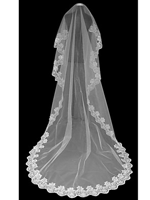 cheap Wedding Veils-One-tier Lace Applique Edge Wedding Veil Cathedral Veils with 118.11 in (300cm) Tulle