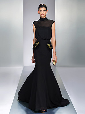 cheap Evening Dresses-Mermaid / Trumpet Elegant Black Wedding Guest Formal Evening Dress High Neck Sleeveless Court Train Chiffon with Sequin 2020