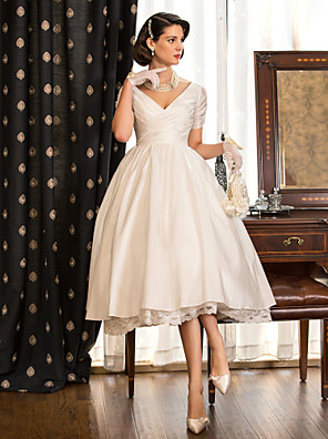 cheap Wedding Dresses-A-Line Wedding Dresses V Neck Tea Length Taffeta Short Sleeve Vintage Little White Dress 1950s with Lace Criss Cross 2020