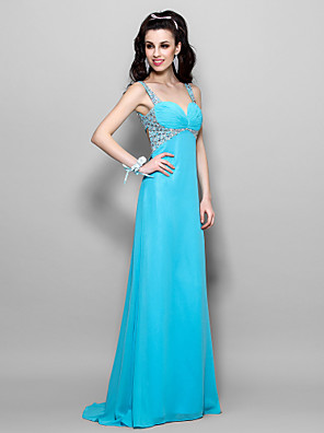 cheap Cocktail Dresses-A-Line Beautiful Back Pastel Colors Beaded & Sequin Prom Formal Evening Dress Sweetheart Neckline Sleeveless Floor Length Chiffon with Ruched Crystals 2020