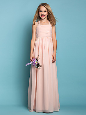 cheap Junior Bridesmaid Dresses-Sheath / Column Halter Neck Floor Length Chiffon Junior Bridesmaid Dress with Ruched / Spring / Summer / Fall / Apple / Hourglass