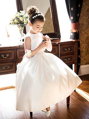 cheap Flower Girl Dresses-Princess / A-Line Tea Length Wedding / First Communion Flower Girl Dresses - Satin Sleeveless Jewel Neck with Bow(s) / Ruched