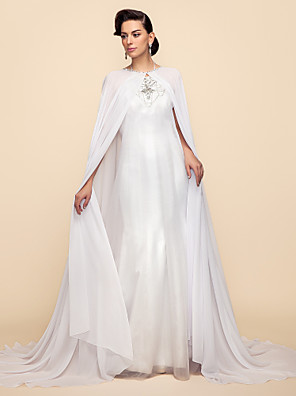 cheap Evening Dresses-Long Sleeve Capes Chiffon / Lace Wedding / Party Evening Wedding  Wraps / Hoods & Ponchos With Draping / Solid