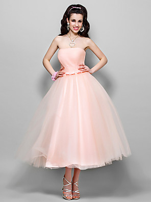 cheap Evening Dresses-Ball Gown 1950s Pink Prom Formal Evening Dress Strapless Sleeveless Tea Length Tulle with Bow(s) Ruched 2020