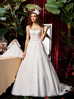 cheap Wedding Dresses-A-Line Wedding Dresses Jewel Neck Sweep / Brush Train Chiffon Lace Sleeveless See-Through with Bowknot Sash / Ribbon Beading 2020