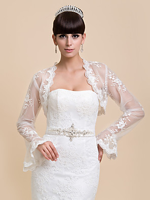 cheap Wedding Wraps-Long Sleeve Coats / Jackets Lace Wedding / Party Evening / Casual Wedding  Wraps With