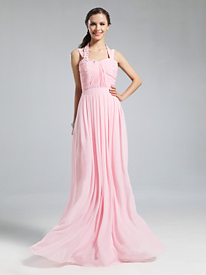 cheap Bridesmaid Dresses-Sheath / Column Halter Neck Floor Length Chiffon Bridesmaid Dress with Pleats / Ruched / Beading