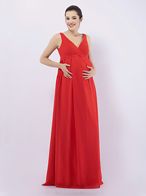 cheap Bridesmaid Dresses-Sheath / Column Straps / V Neck Floor Length Chiffon Bridesmaid Dress with Draping / Maternity