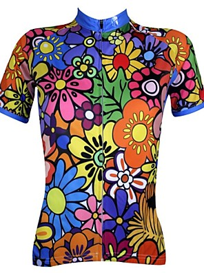 ILPALADINO Women s Short Sleeve Cycling Jersey - Rainbow Floral   Botanical  Plus Size Bike Jersey Top ee0294272