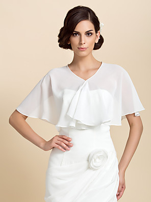 cheap Wedding Wraps-Short Sleeve Capelets Chiffon Party Evening Wedding  Wraps With Draping / Solid
