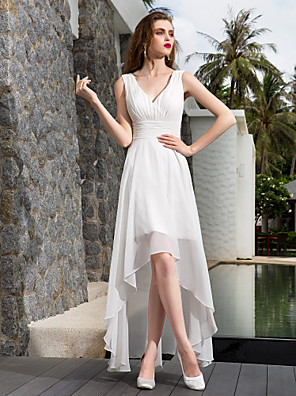 cheap Wedding Dresses-A-Line Wedding Dresses V Neck Asymmetrical Georgette Regular Straps Formal Simple Casual Plus Size with Ruched Side-Draped 2020